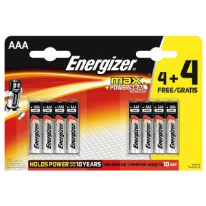Energizer Max Pack of 8 AAA LR03 Alkaline Batteries