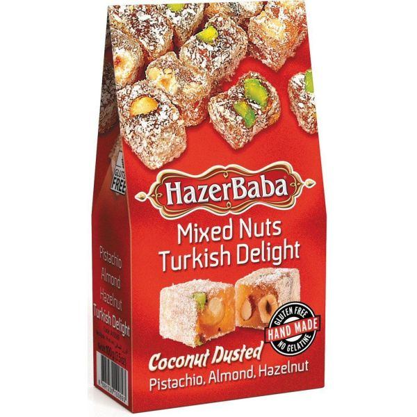 Hazer Baba 100g Coconut Dusted Mixed Nuts Turkish Delight