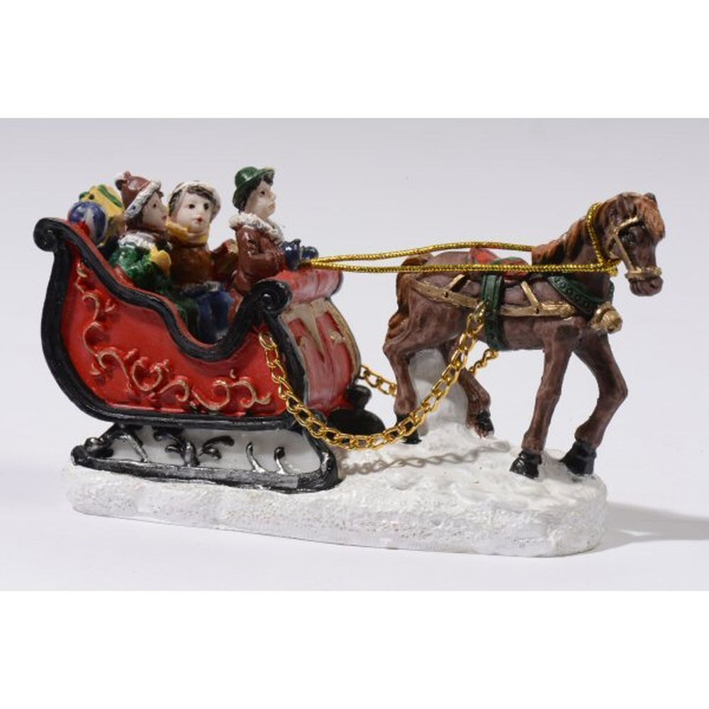 Decoris Christmas Village Horse Sleigh with 3 People Scene