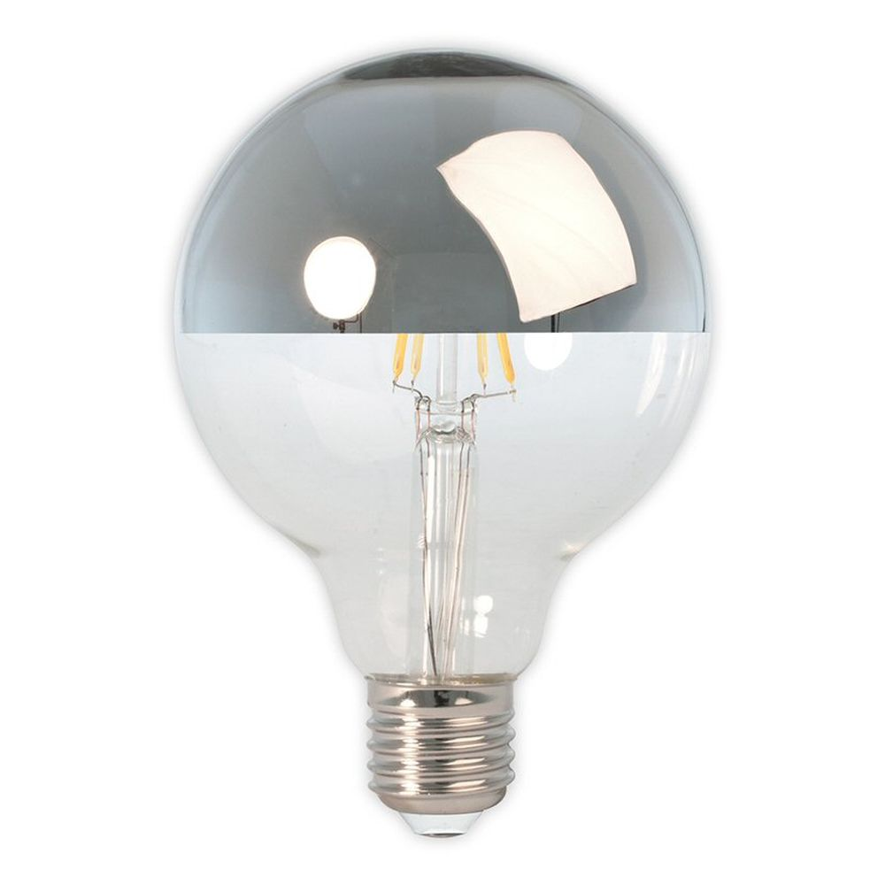 Calex E27 Silver Top  LED Glass Filament Globe Bulb