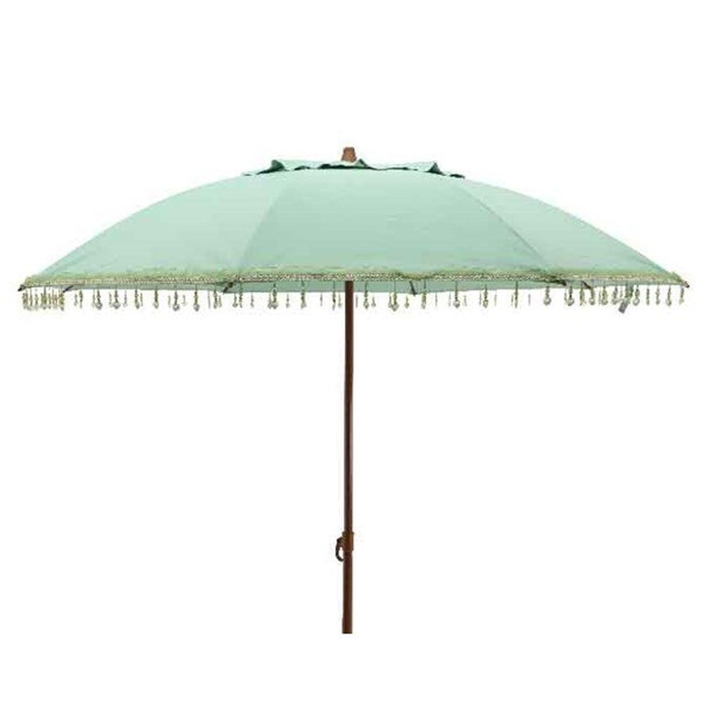 Kaemingk 1.8m Green Parasol Umbrella with Heart Pendants