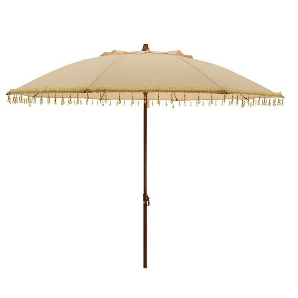 Kaemingk 1.8m Soft Yellow Parasol Umbrella with Heart Pendants