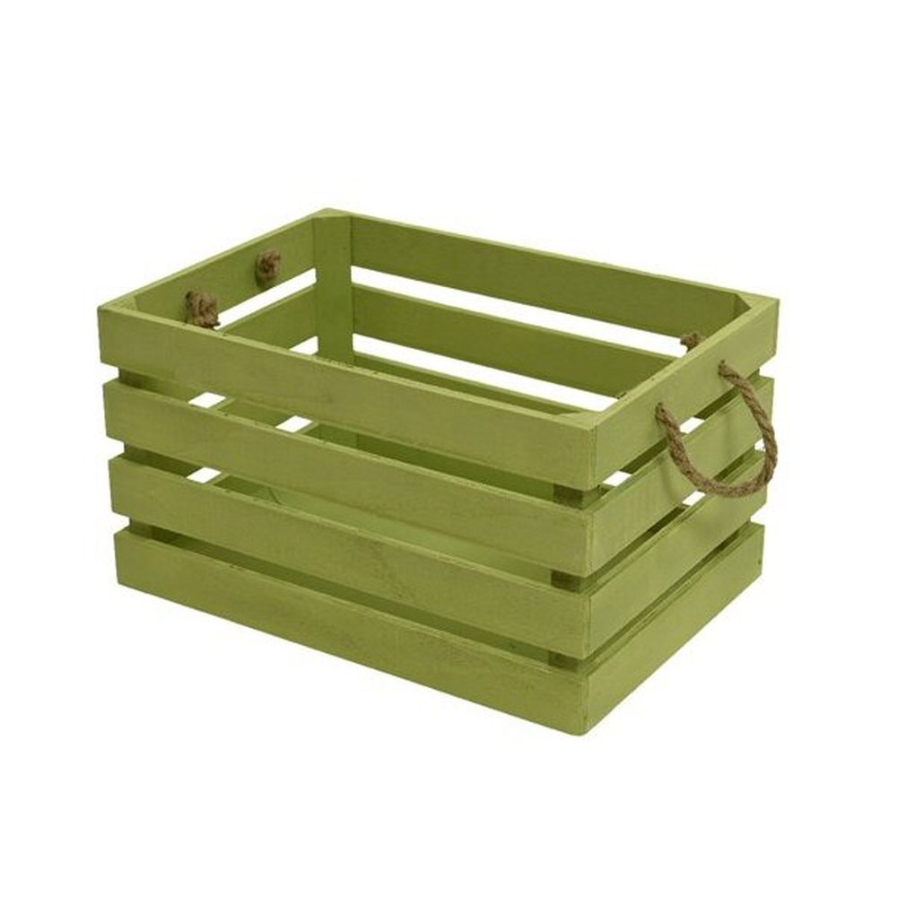 Kaemingk 25 x 36 x 20cm Green Polywood Crate With Handles