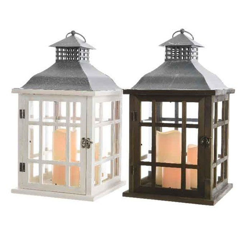 Kaemingk Choice of 2 42cm Indoor LED Wooden Lantern - 482469