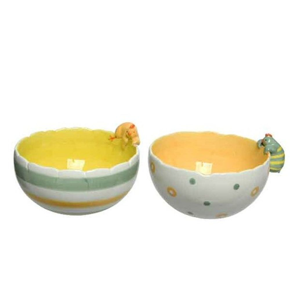Kaemingk 13cm Striped or Dotted Bowl with Chicken