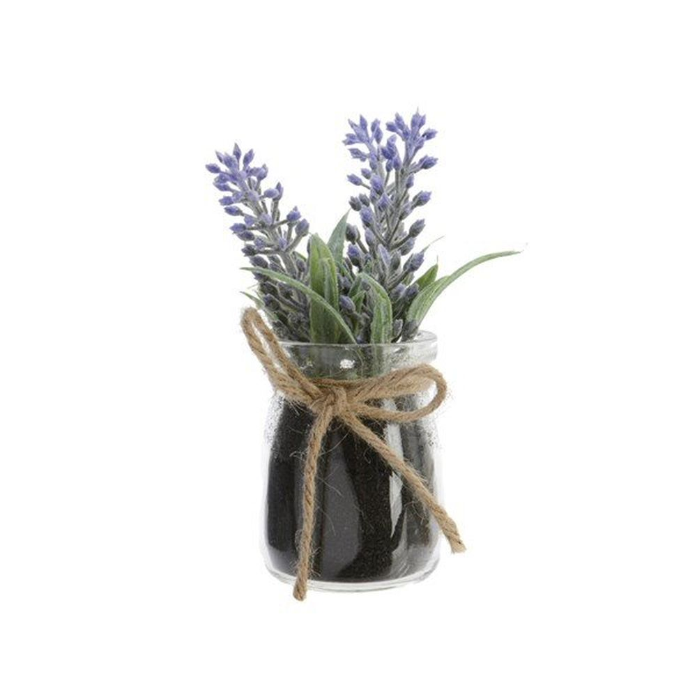 Kaemingk Plastic Lavender in Glass Pot