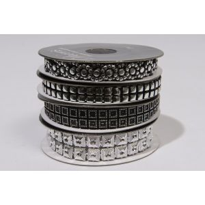 Kaemingk Silver Plastic Ribbon with Strass - 442059
