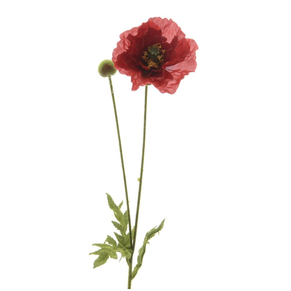 Kaemingk Artificial Red Silk Poppy Flower