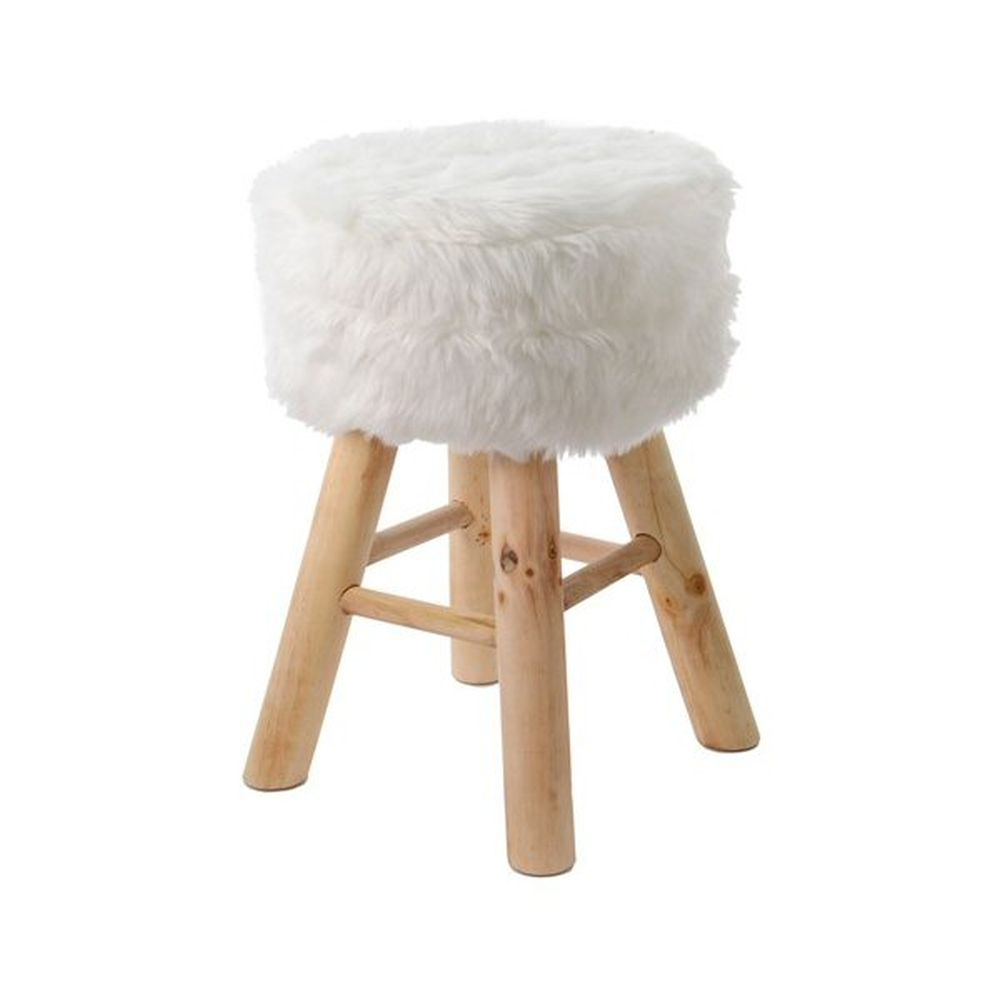Kaemingk White Footstool With Artificial Fur