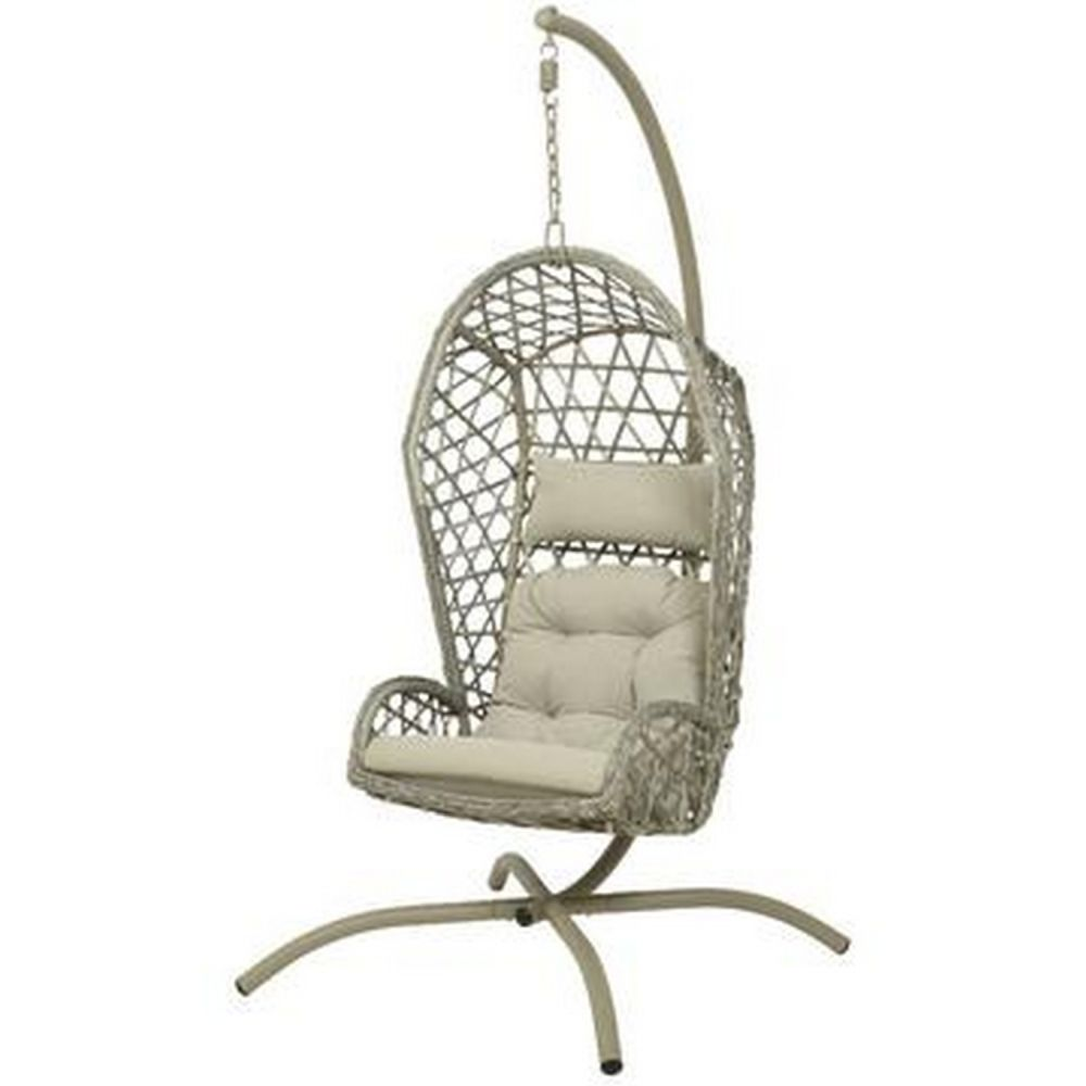 Kaemingk 198cm Sellin Wicker Hanging Garden Chair Grey