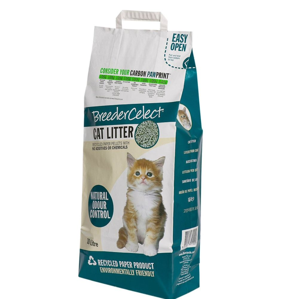 Breeder Celect Recycled Paper Non-Clumping Cat Litter 20Ltr