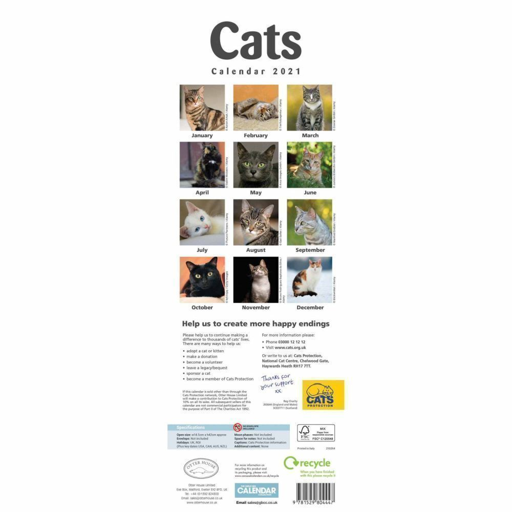 Cats Protection 2021 Slim Wall Calendar Calendars Diaries Old Railway Line Garden Centre